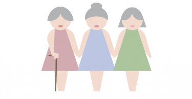Illustration of pretty old ladies holding hands