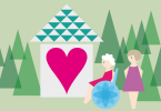 Illustration of house in trees with heart, old lady in wheelchair and carer