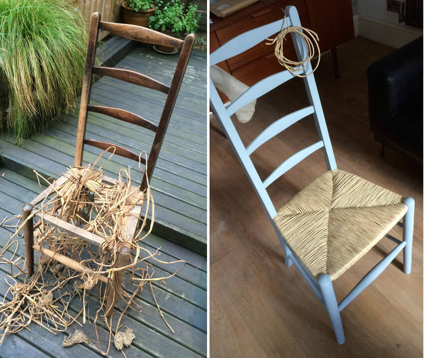 Before and after images of renovated chair