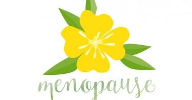 Illustration of evening primrose with menopause in script