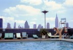 Image of Gill diving into a Manhatten rooftop pool, 1969