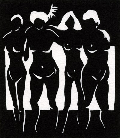 Lino cut by Avril Broadley of Fran Landesman poem Song of four women