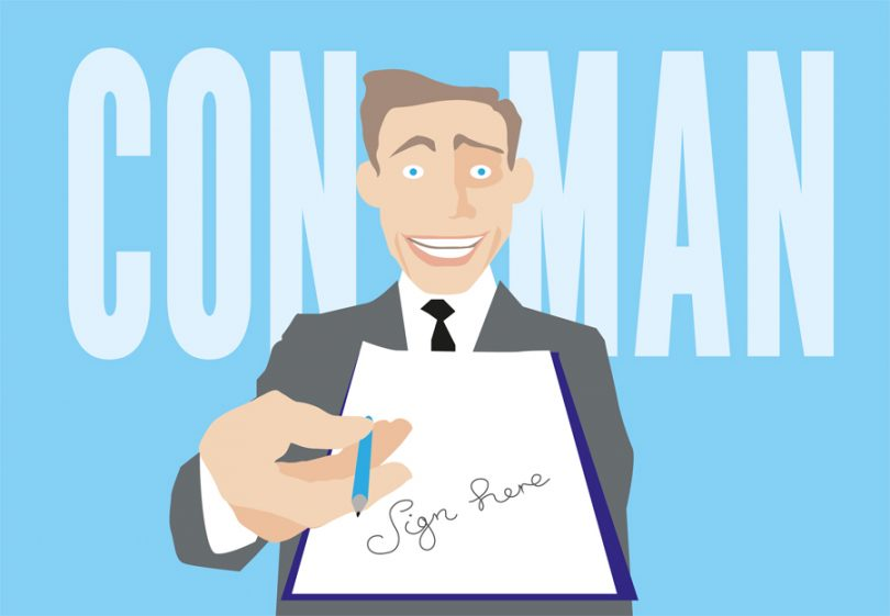Illustration of scam salesman with contract