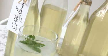 Bottles of homemade elderflower cordial