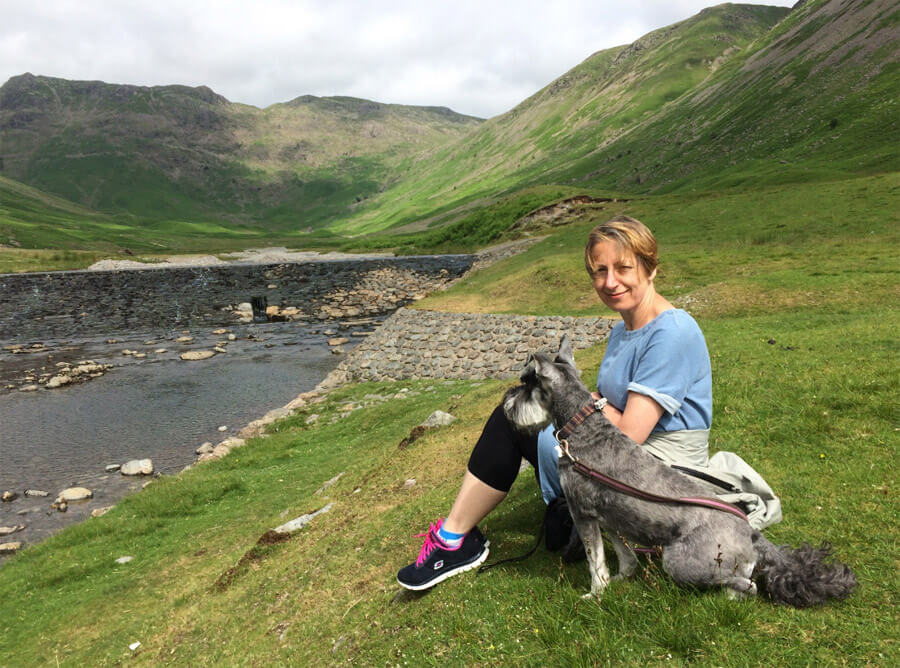 Me and the dog in the Great Langdale Valley